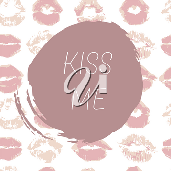 Vector illustration. Card, flyer, web banner. A short message, a greeting. Beautiful text. Kiss me