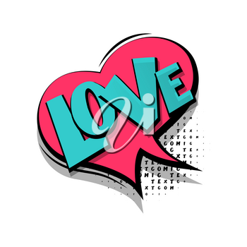 Lettering love. Comics book balloon. Bubble icon speech phrase. Cartoon exclusive font label tag expression. Comic text sound effects. Sounds vector illustration.