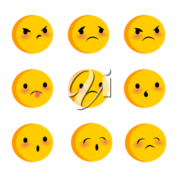 Emotional cute sad poor faces smiles big set. Vector illustration smile icon. Face emoji yellow icon. Smile funny emotion face on transparent background. Sad triste feelings, expression message, sms.