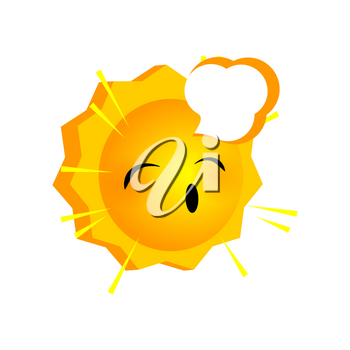 Vector illustration sleepy sunny smile icon. Face emoji yellow icon. Smile cute funny emotion face on isolated background. Happy feelings, expression for message, sms.