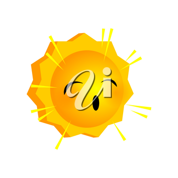 Vector illustration bored sunny smile icon. Face emoji yellow icon. Smile cute funny emotion face on isolated background. Happy feelings, expression for message, sms.