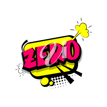 Zero comic funny colorful number, count, school, badge cloud vector pop art style. Colored message bubble speech comic cartoon expression illustration. Comics book background template.
