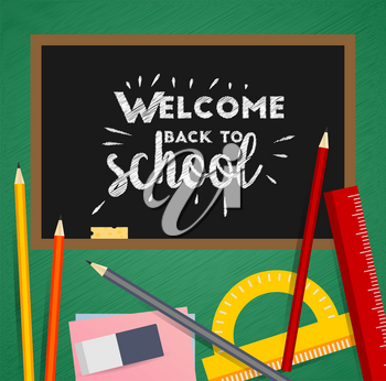 Workspace in flat design with Doodle top view on a light background. Technical workspace. Welcome back to school.