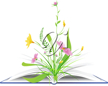 open book with pink flowers and green grass on a white background