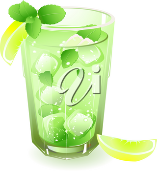 glass with drink, lemon, ice and leaves of mint  isolated on a white background