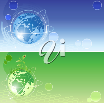 vector backgrounds with blue and green globe