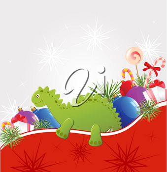 Christmas vector  background with decorations and toy dragon