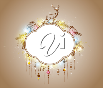 Vector shining Christmas background with decorations and gifts