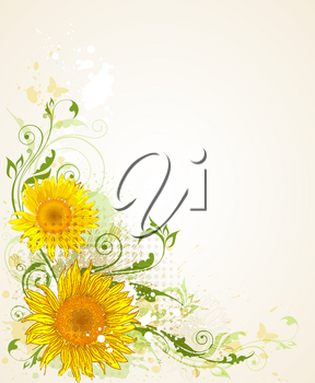 decorative vector floral grunge  background with sunflowers