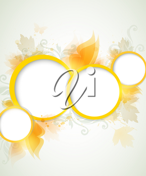 Abstract vector shining background with yellow leaves