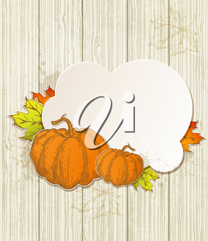 Autumn background with pumpkins and leaves