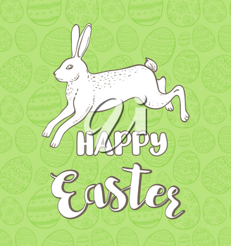 Decorative Easter greeting card with rabbit on a green background. Hand drawn vector illustration.