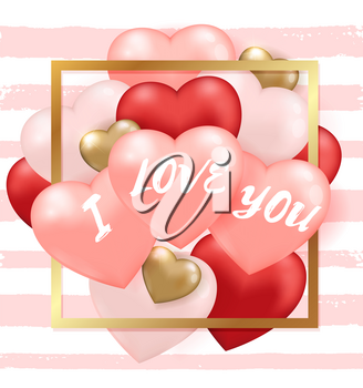 Decorative festive striped background for Valentine's day with red and pink heart balloons and golden frame. I love you lettering. Vector illustration.