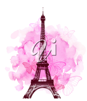 Pink watercolor romantic Valentine background with Eiffel Tower and butterfly. Vector illustration.