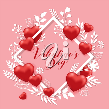 Floral frame of red hearts and white paper cut flowers on a pink background. Greeting card for Saint Valentine's day. Vector illustration.