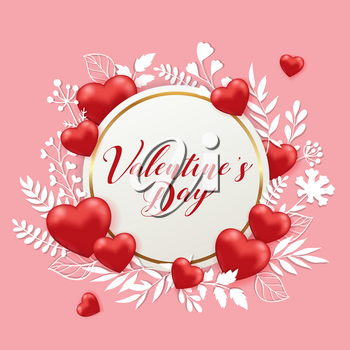 Red hearts, white paper cut flowers and round banner on a pink background. Greeting card for Saint Valentine's day. Vector illustration.