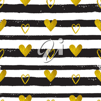 Decorative festive seamless pattern with golden hearts and black lines. Vector background for Valentine's day