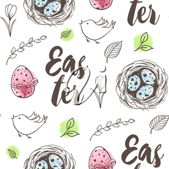 Hand drawn doodle Easter seamless pattern with eggs in the nest, bird and flowers on a white background. Vector illustration.