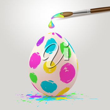 Hand painted multicolored Easter egg and paintbrush. Realistic vector illustration.