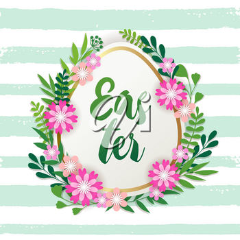 Decorative Easter egg, spring flowers and green leaves. Festive background. Vector illustration. Holiday greeting card.