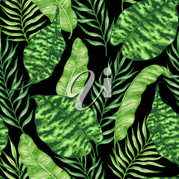 Tropical summer seamless pattern with green palm leaves on a black background. Hand drawn vector illustration