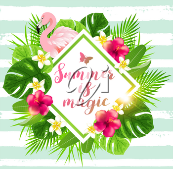Summer background with tropical flowers, green palm leaves and pink flamingo
