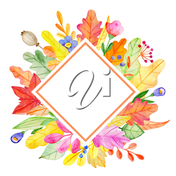 Watercolor autumn floral banner with flowers and leaves on a white background.  Hand drawn illustration
