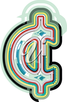 Abstract colorful cent symbol