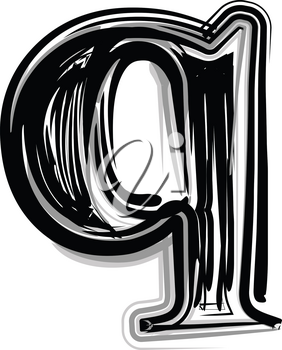 Freehand Typography Letter q