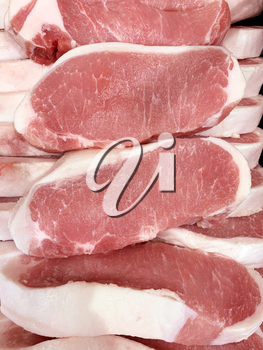 Pork raw meat slices in a butcher shop, top view