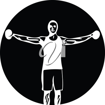 man with barbell doing squats in gym vector illustration