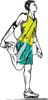 Sketch of Runners Stretching vector illustration