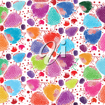 berries seamless hand drawn pattern Vector illustration