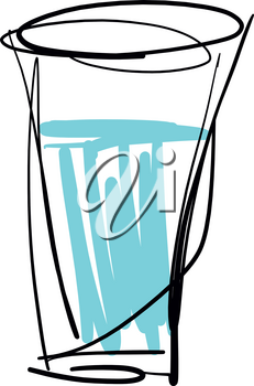 Sketch of Glass with water isolated vector illustration on white background
