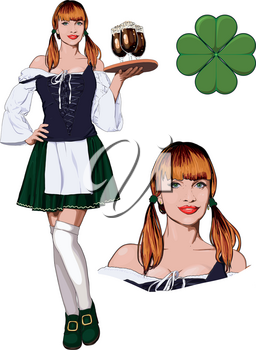 Young red-haired Irish waitress in corset, stockings and green skirt with dark beer glasses on tray