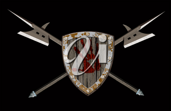 wooden combat shield with the emblem of a bloody palm centered and with two crossed halberds