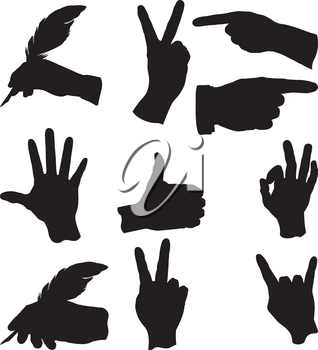 few hand gestures in different situations and actions
