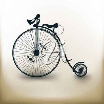 simple square pictograms Vintage Bicycle on beige background