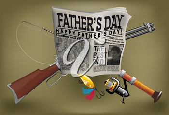 Father's Day card with a man hobby, newspaper, gun, and spinning
