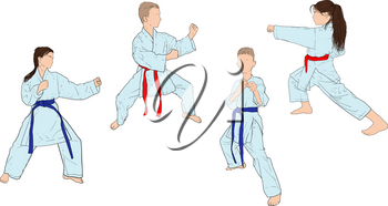 boys and girls in white kimonos practice karate standing in a fighting stance