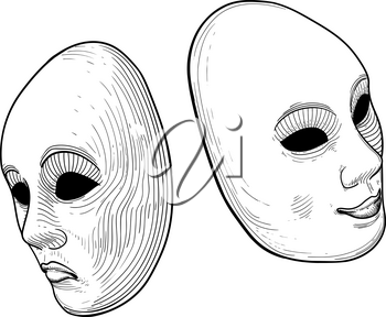 Two classic theatrical comedy and tragedy masks smiling and sad
