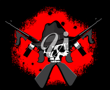 Mafioso skull in Fedor's hat with two crossed Tommy assault rifles on a blood-red and black background