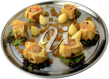 Royalty Free Photo of a Tray of Pigs in a Blanket