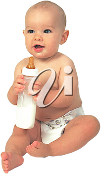 Royalty Free Photo of an Infant Child Sitting Holding a Bottle