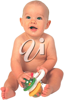 Royalty Free Photo of an Infant Child Playing With a Toy
