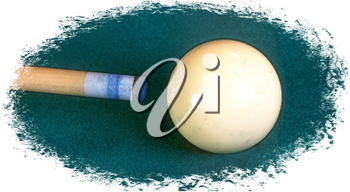 Royalty Free Photo of a Pool Cue and Ball