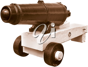 Royalty Free Photo of an Ancient Cannon on a Platform