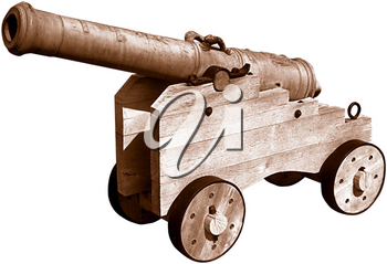 Royalty Free Photo of a Cannon on a Wooden Carriage