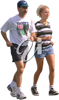 Royalty Free Photo of a Couple Jogging Together