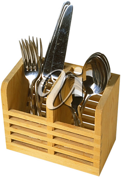 Royalty Free Photo of Cutlery in a Wooden Holder